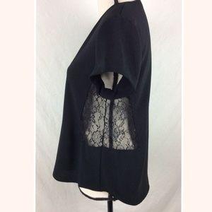Zara Woman Black Lace Inset Blouse Large